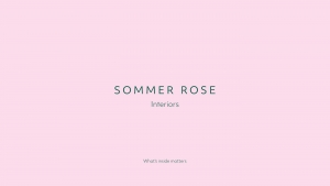 Sommer Rose Interiors logotype on pink background